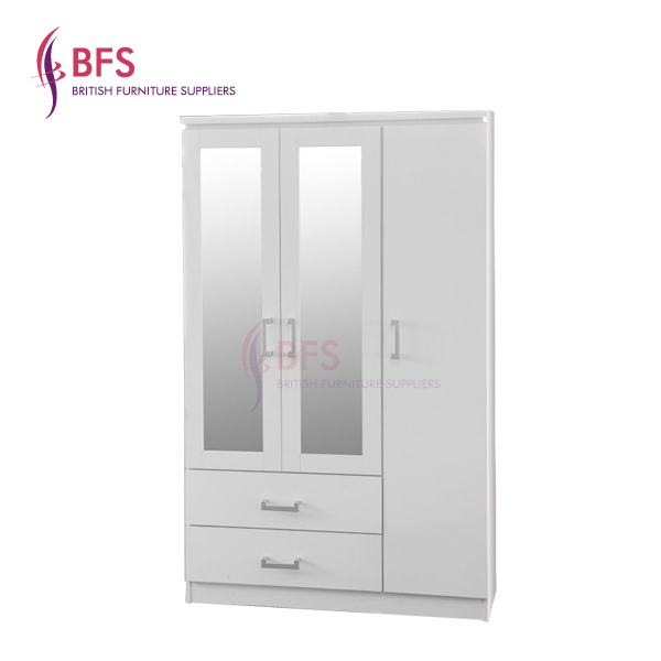 3 door wardrobe with 2 mirrors and 2 drawers